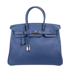Hermes Birkin 35 Bag Blue Sapphire Limited Edition Toile Printed Sea Surf