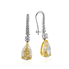 СЕРЬГИ NO NAME С БРИЛЛИАНТАМИ 3.23 CT FANCY YELLOW/VS1 - 3.02 CT FANCY YELLOW/SI1