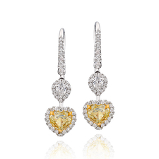 СЕРЬГИ NO NAME С БРИЛЛИАНТАМИ 1.08 CT FANCY YELLOW/VS2 - 1.00 CT FANCY YELLOW/VS1