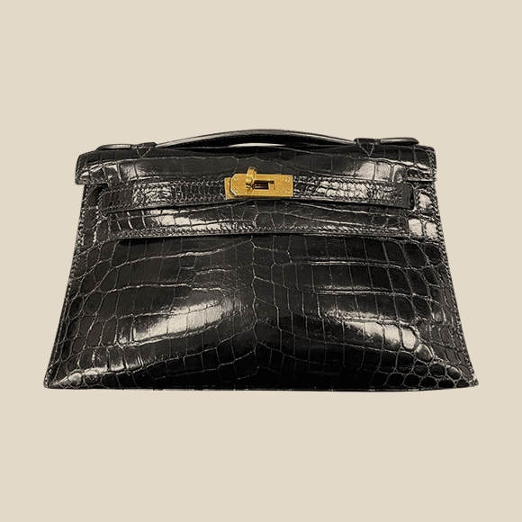 Hermes - KELLY POCHETTE ALLIGATOR NOIR GHW