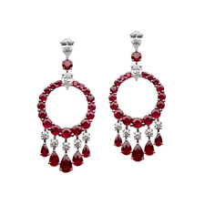 GRAFF WHITE GOLD RUBY & DIAMOND MINI GYPSY EARRINGS