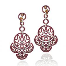 Jacob & Co LACE, CHANDELIER EARRINGS, RUBIES, DIAMONDS, ROSE GOLD