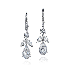 GRAFF TOPS ON FRENCH EARRINGS  1.00 CT F/VVS2 - 0.98 CT F/VVS1
