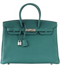 Hermes Birkin 35 Bag Malachite Green Togo Palladium