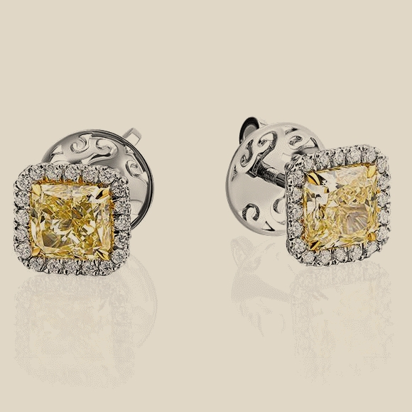 Сережки - 1.52 CR FANCY LIGHT YELLOW/VS2 - 1.51 CT FANCY LIGHT YELLOW/VS2
