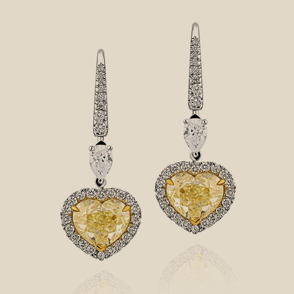 СЕРЬГИ NO NAME - 3.02 CT  Fancy Light Yellow/VS2 - 3.00 CT Fancy Light Yellow/VS2