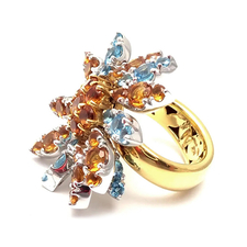 Pasquale Bruni MARGHERITA LARGE BLUE TOPAZ CITRINE GOLD COCKTAIL RING