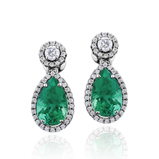 СЕРЬГИ NO NAME С ИЗУМРУДАМИ 3.35 CT INTENSE BLUISH GREEN/VS - 3.20 CT INTENSE BLUISH GREEN/VS
