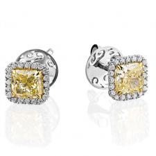 СЕРЬГИ NO NAME С БРИЛЛИАНТАМИ 1.00 CT FANCY LIGHT YELLOW/VS1 - 1.01 CT FANCY LIGHT YELLOW/VS2