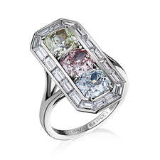 КОЛЬЦО NO NAME С БРИЛЛИАНТАМИ 1.39 CT FANCY INTENSE ORANGY PINK/VVS2 - 1.33 CT FANCY LIGHT GREENISH/VVS2 - 1.28 CT FANCY YELLOWISH GREEN/VS2