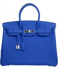 Hermes 35 cm Bleu Electrique Togo Leather Birkin with Palladium Hardware