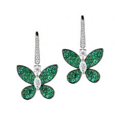 GRAFF PAVE BUTTERFLY, EMERALDS, DIAMONDS
