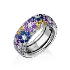 Pasquale Bruni MULTI SAPPHIRE FLORA PAVE RING
