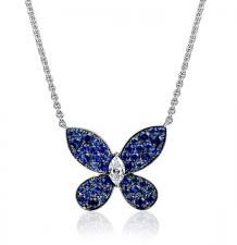 GRAFF PAVE BUTTERFLY, SAPPHIRE, WHITE GOLD PENDANT