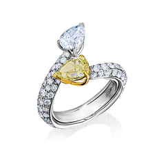 VERDI JEWELLERY КОЛЬЦО С БРИЛЛИАНТАМИ 1.11 CT FANCY YELLOW/SI1 0.90 CT G/VVS1