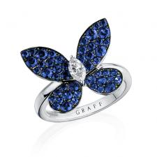 GRAFF PAVE BUTTERFLY, SAPPHIRE, WHITE GOLD, LARGE MODEL