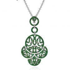 LACE PENDANT, EMERALDS, DIAMONDS, WHITE GOLD