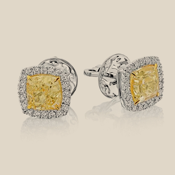 СЕРЬГИ NO NAME - 2.13 CT Fancy Light Yellow/SI1 - 2.03 CT  Fancy Light Yellow/SI1