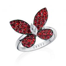 GRAFF PAVE BUTTERFLY, RUBIES, WHITE GOLD, LARGE MODEL