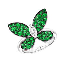 GRAFF PAVE BUTTERFLY EMERALD RING