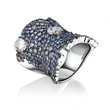 Stefan Hafner Fancy Sapphire and Diamond Band Ring