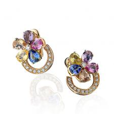 Bvlgari MULTICOLOR SAPPHIRE FLOWER EARRINGS