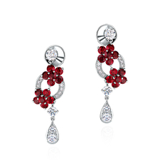 GRAFF ROSETTE RUBY EARRINGS