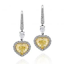 СЕРЬГИ NO NAME С БРИЛЛИАНТАМИ 3.02 CT  Fancy Light Yellow/VS2 - 3.00 CT Fancy Light Yellow/VS2