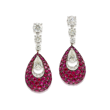 GRAFF BOMBÉ PAVILION' PAIR OF DIAMOND AND RUBY PENDENT EARRINGS
