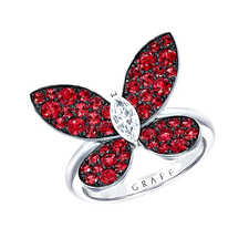 GRAFF PAVE BUTTERFLY RUBY RING