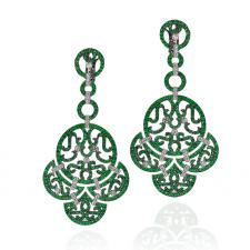 LACE, CHANDELIER EARRINGS, EMERALDS, DIAMONDS, WHITE GOLD