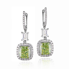 СЕРЬГИ NO NAME С БРИЛЛИАНТАМИ  2.36 CT FANCY GREENISH YELLOW/VVS2 - 2.31 CT FANCY GREENISH YELLOW/VVS2