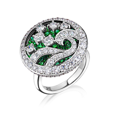 GRAFF WAVE RING EMERALDS