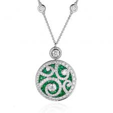 GRAFF DIAMOND ON DIAMOND, EMERALDS & DIAMONDS PENDANT, MEDIUM SIZE