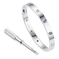 Cartier LOVE BRACELET. WHITE GOLD, AQUAMARINES, SAPPHIRES, SPINELS, AMETHYSTS